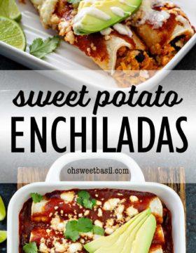 a pan full of vegetarian sweet potato enchiladas with black beans, enchilada sauce and a sweet corn crema
