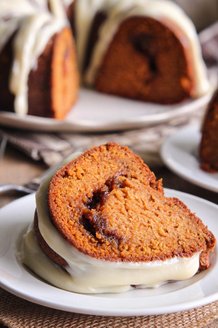 Cinnamon Ripple Sweet Potato Bundt Cake slice on white plate