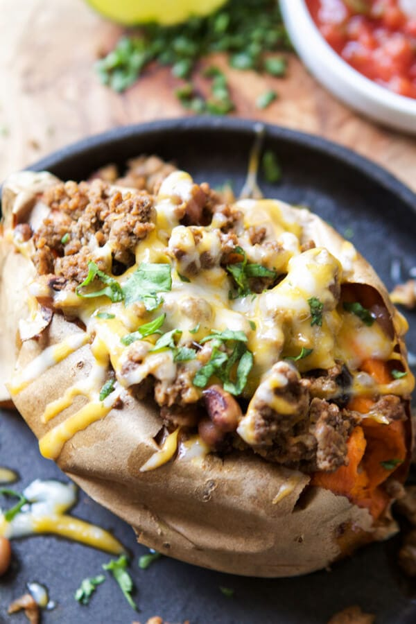 We love food, but we have to have balance and healthy dinners are essential. If you're looking for a healthy dinner idea try taco stuffed sweet potatoes. ohsweetbasil.com