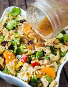 Teriyaki Chicken loaded with veggies, mandarin oranges, pasta and of course a sesame dressing makes up the yummiest teriyaki chicken pasta salad ever! ohsweetbasil.com