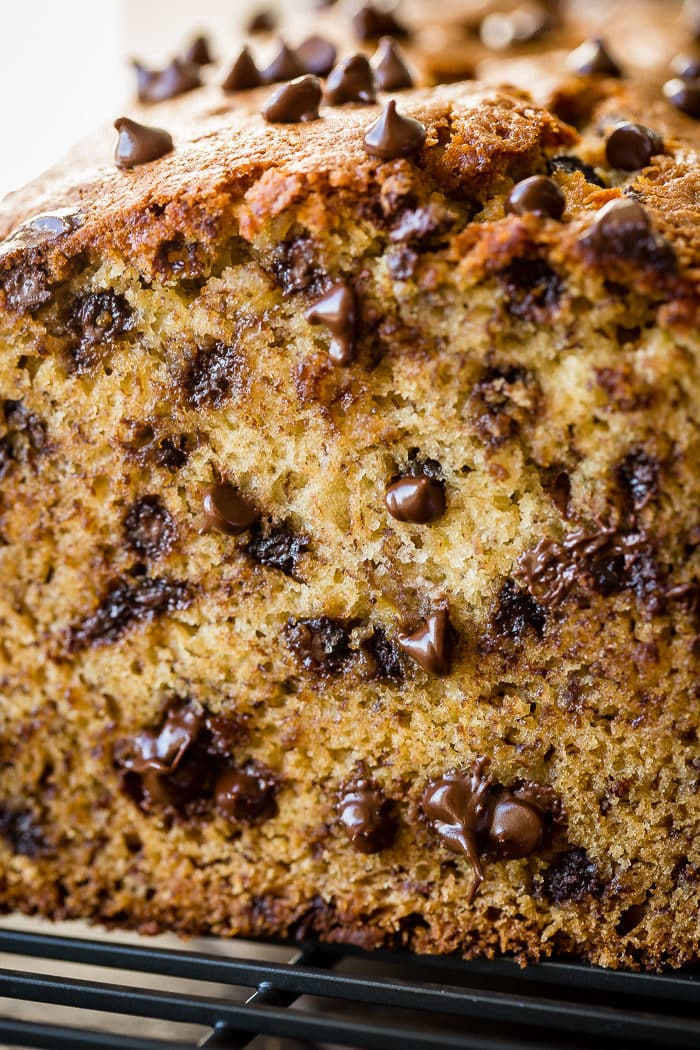 The very best chocolate banana bread on a cooling rack