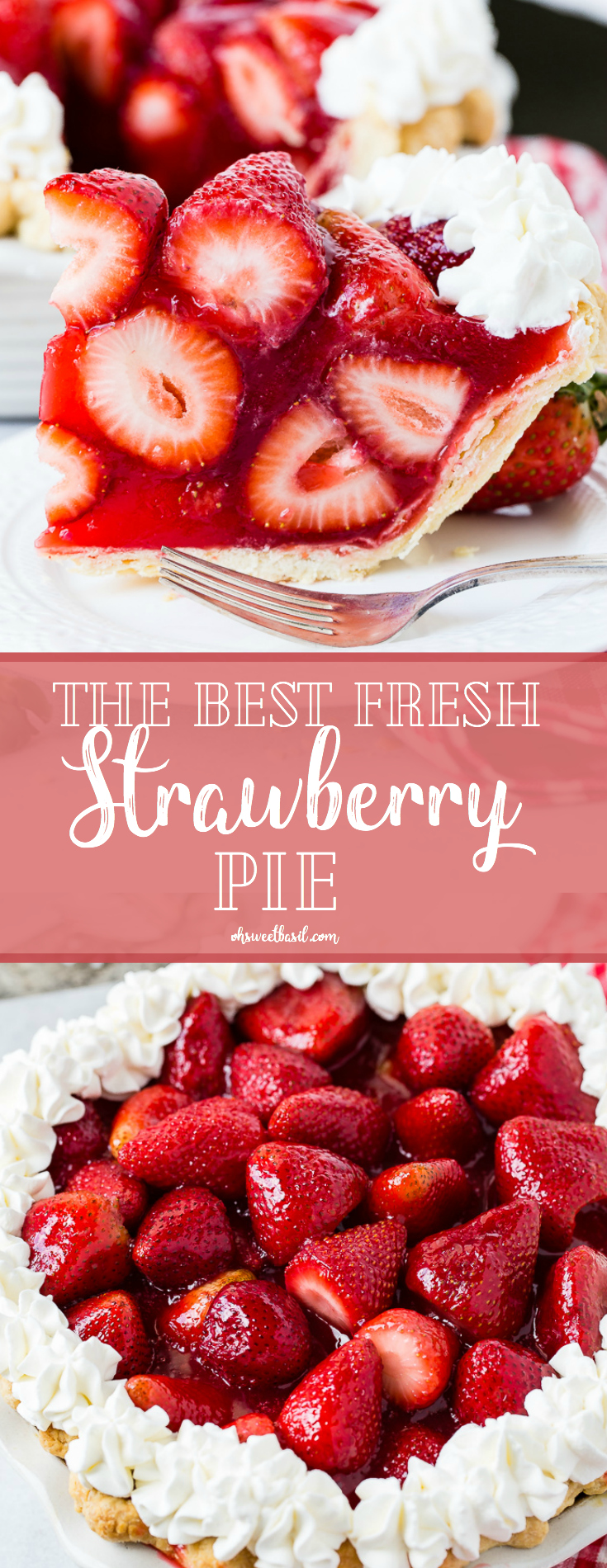 A white plate with a big slice of fresh strawberry pie made with jello and a little stabilized whipped cream with a red and white checkered napkin underneath and the whole pie in the background