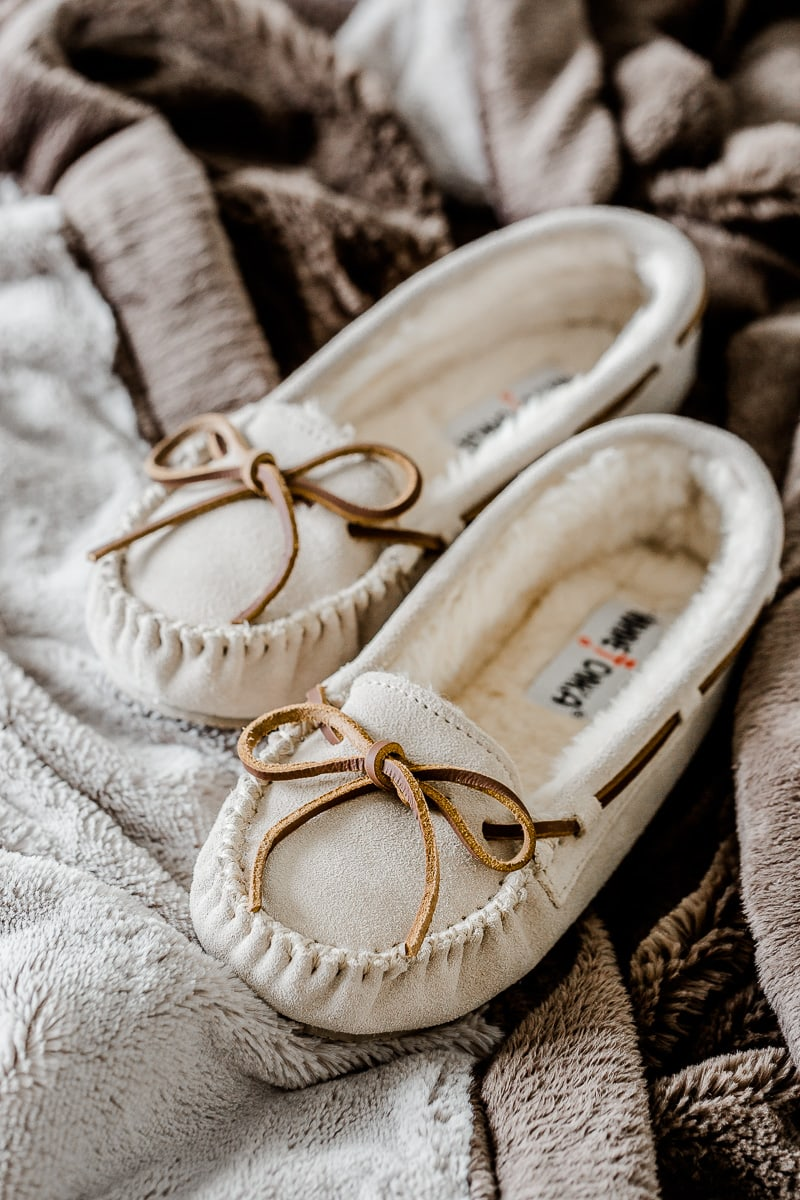 the best slippers for women are these minnetonka slippers!