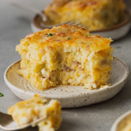 A serving of sausage Monterey Jack souffle. It is cheesy and light and fluffy.