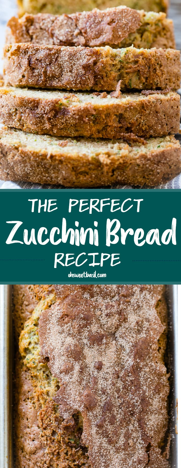 A close up of the best zucchini bread recipe with cinnamon sugar topping