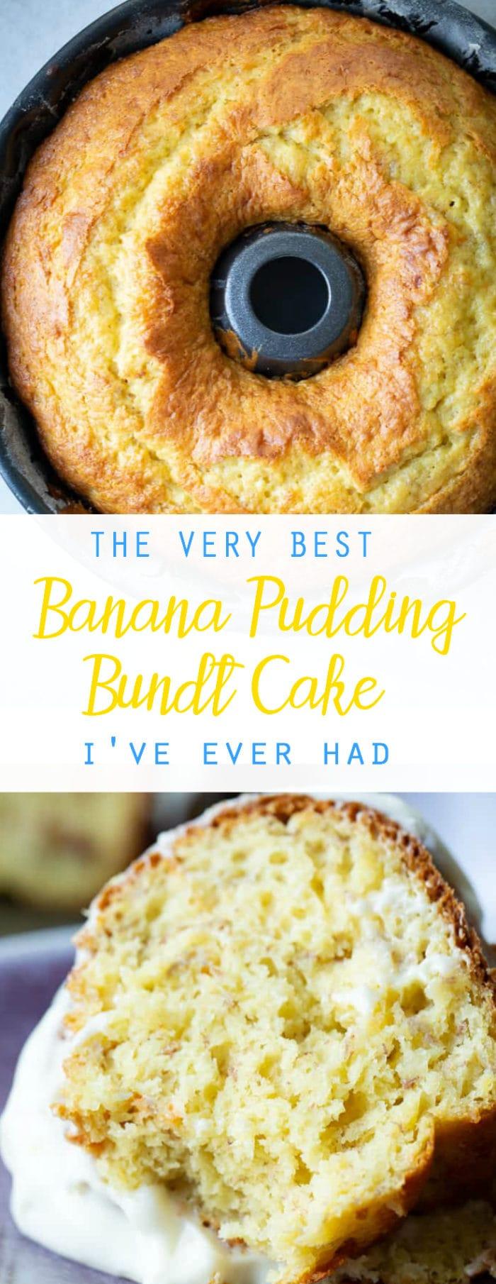 A dark bundt pan with a beautiful, bright yellow banana pudding bundt cake