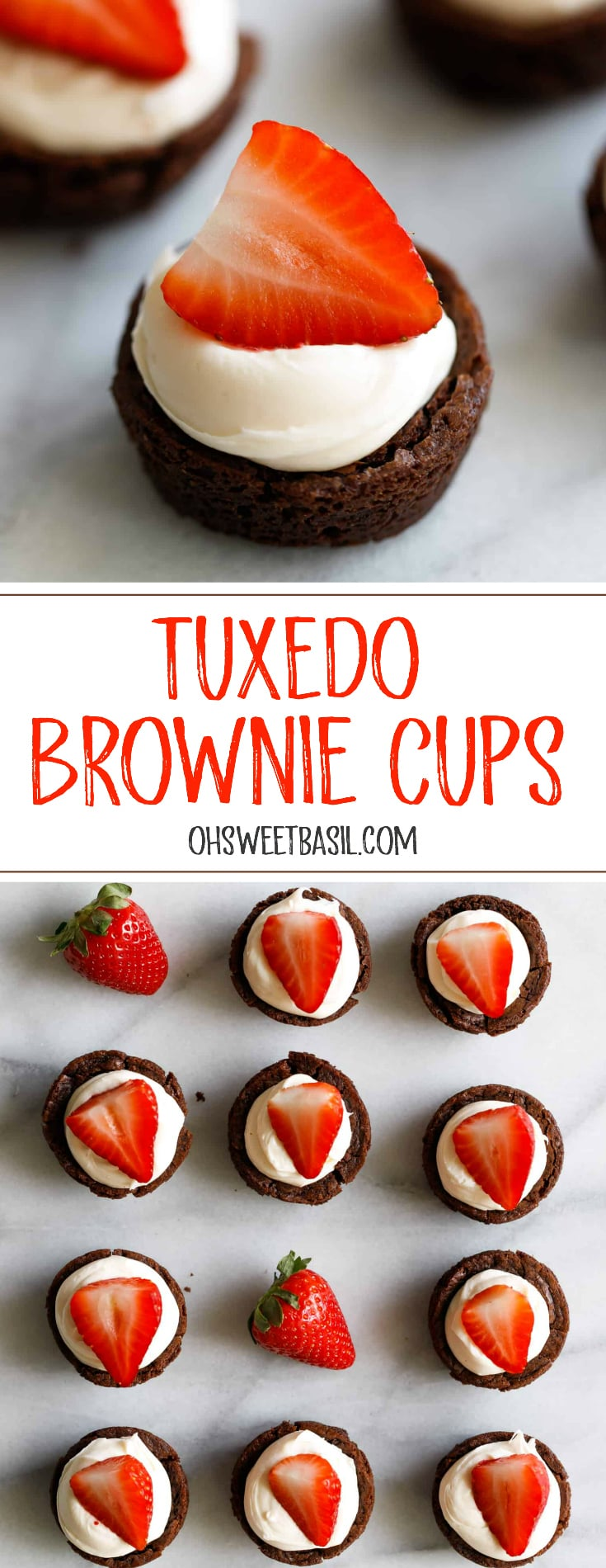 Brownies filled with a cream and topped with a bright red strawberry making elegant strawberry brownie tuxedo cups