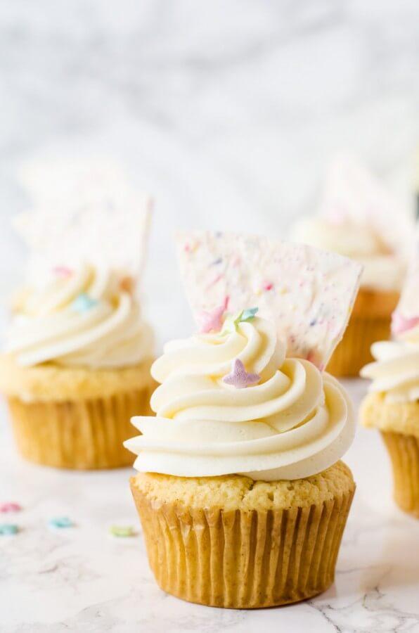 Vanilla Cupcakes with Lemon Curd and Sprinkle Bark