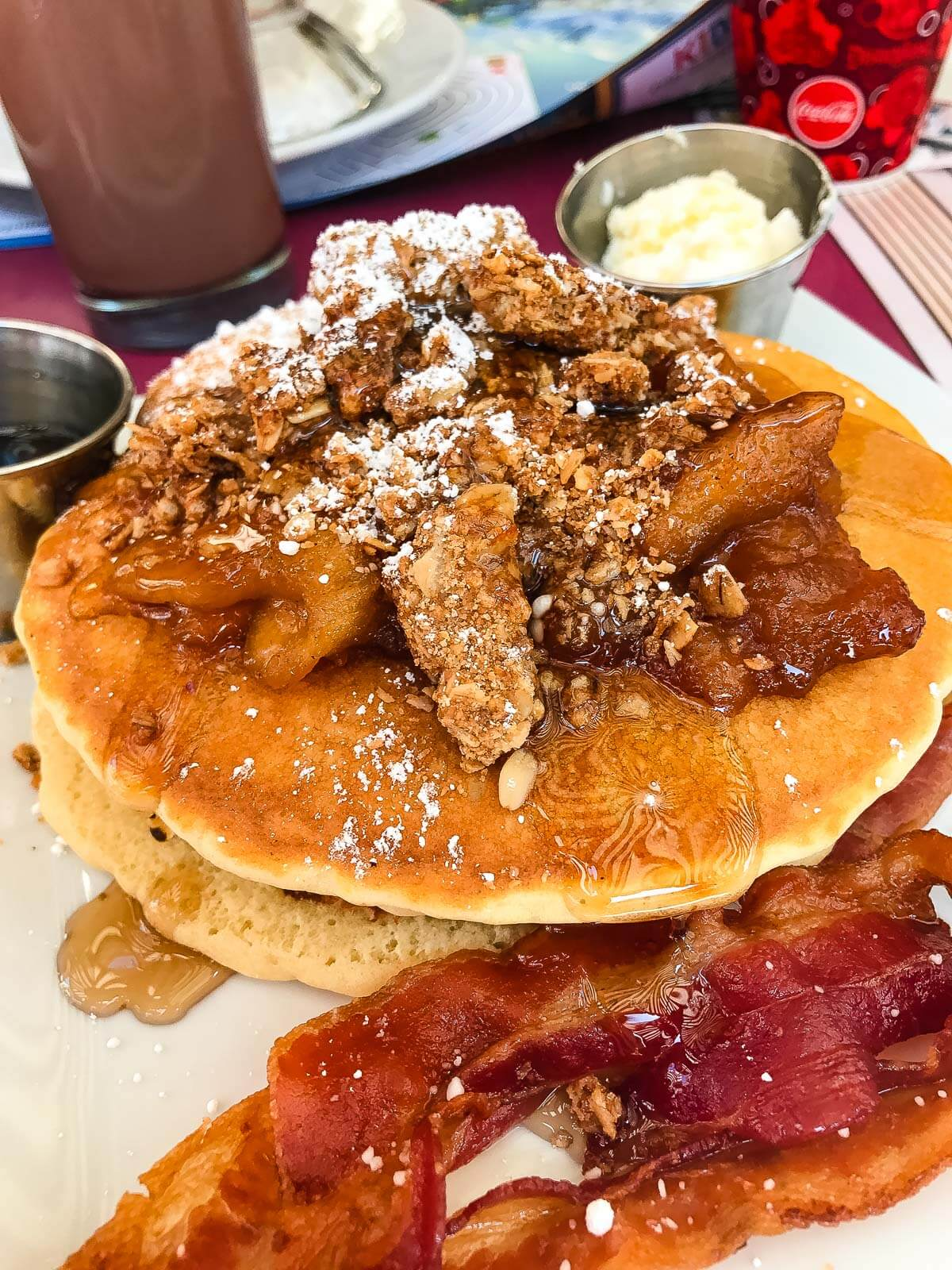 What to order at carnation cafe in disneyland, apple granola pancakes! ohsweetbasil.com