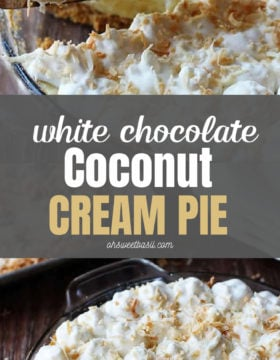 White chocolate coconut cream pie with a piece taken out of it.